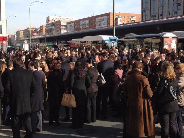 Concentración de trabajadores de Bankia en Plaza de Castilla