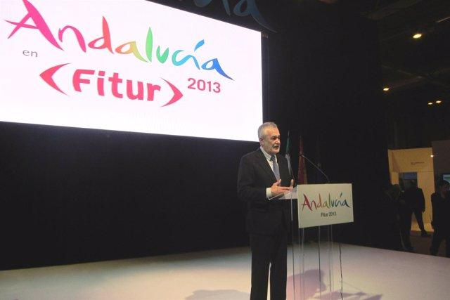 El presidente andaluz José Antonio Griñán, en la presentación en Fitur