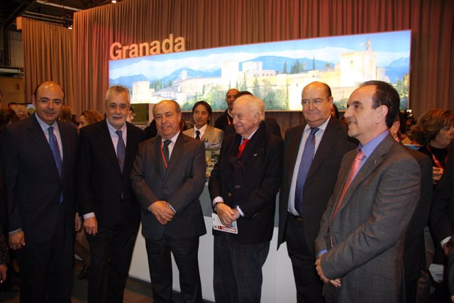 Griñán, con el presidente de la Diputación de Granada y el alcalde de la capital