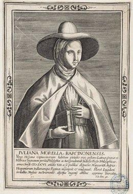 Uno de los retratos de Juliana Morell, poetisa del s.XVI, que se exponen