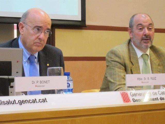 El conseller de Salud Boi Ruiz y el director del CatSalut Josep M.Padrosa