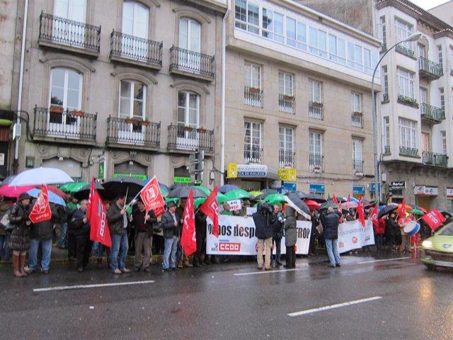 Protesta de los trabajadores de entidades nacionalizadas en Santiago