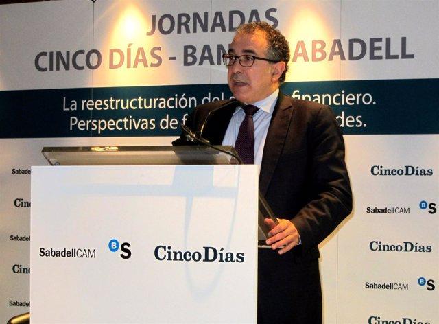 El director general de Banco Sabadell, Miguel Montes, en la jornada de Valencia.