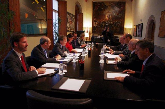 Rectores, Moragues y Català en la reunión