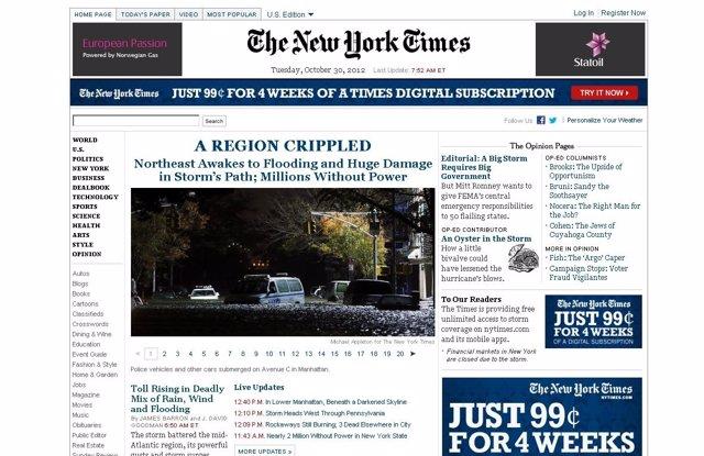 Página web The New York Times