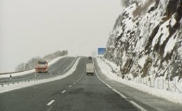 La Autovía de Leitzaran durante una nevada anterior.