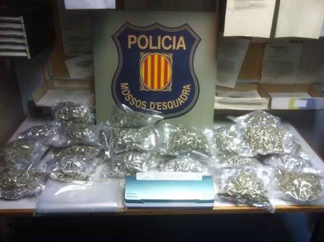 Dos detenidos por transportar seis kilos de marihuana en Vidreres (Girona)