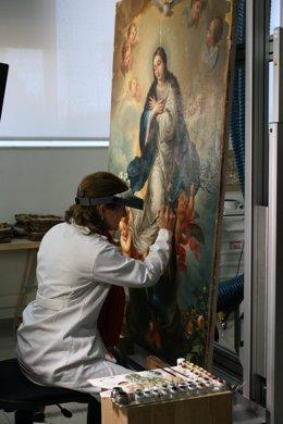 Restauración del lienzo de Mateo Cerezo