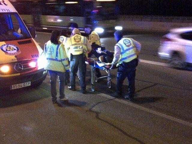 Accidente de un motorista en Madrid