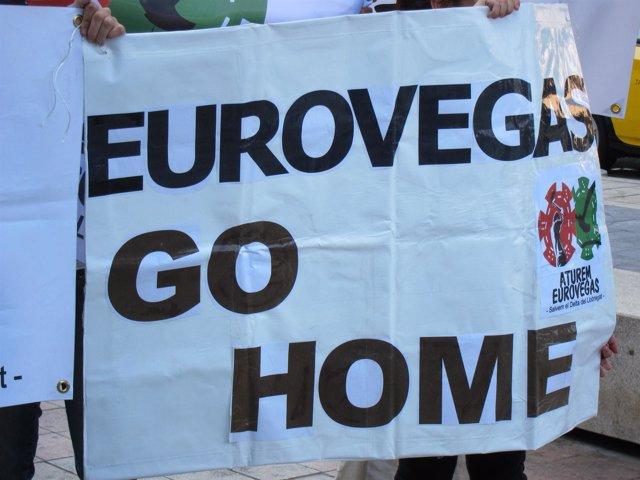 Pancarta Contraria A Eurovegas En Barcelona