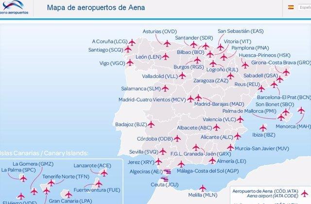 Aeropuertos En España Mapa.Aena Renueva El Servicio De Cartografia En Su Web