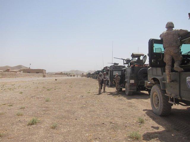 Convoy militar español en la provincia afgana de Badghis