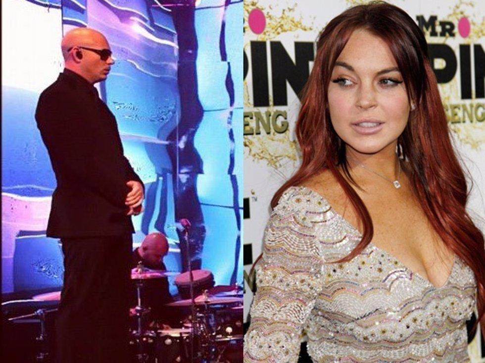 El cantante Pitbull y la actriz Lindsay Lohan