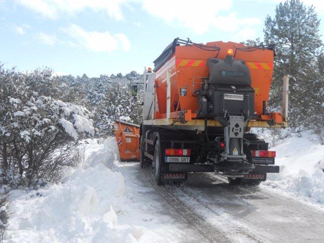 Invierno, nieve, quitanieves, frio, carreteras