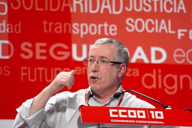 Ignacio Fernández Toxo en el X Congreso Confederal de CC.OO.