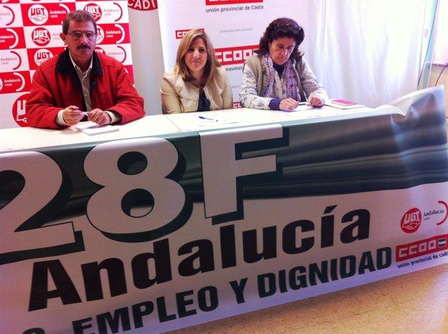 Irene García (PSOE), este martes con representantes de CCOO y UGT