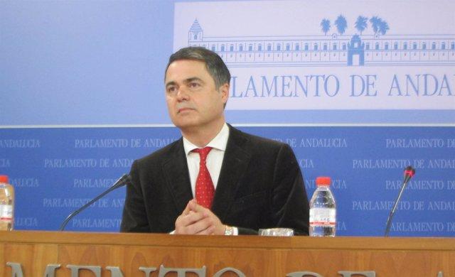 El portavoz del PP-A en el Parlamento, Carlos Rojas, hoy en rueda de prensa