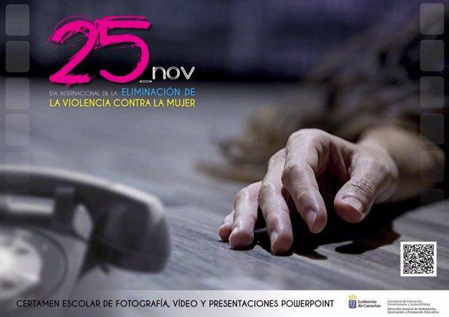 Cartel del certamen contra la violencia de género del 25 de Noviembre