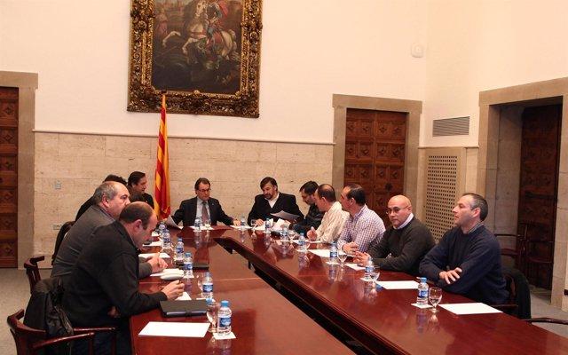Reunión de Unió de Pagesos con Artur Mas y Josep Maria Pelegrí