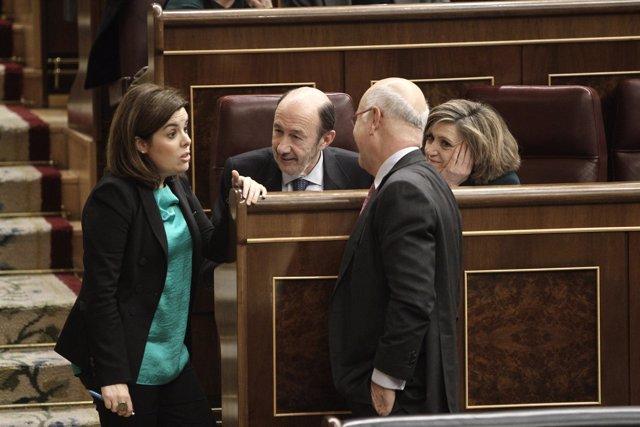 Rubalcaba, Santamaría y Duran en el Congreso