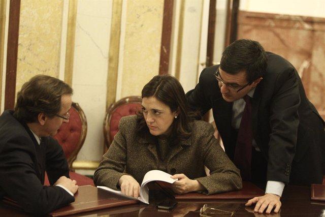 Soraya Rodríguez (PSOE) y Alfonso Alonso (PP) en el Congreso