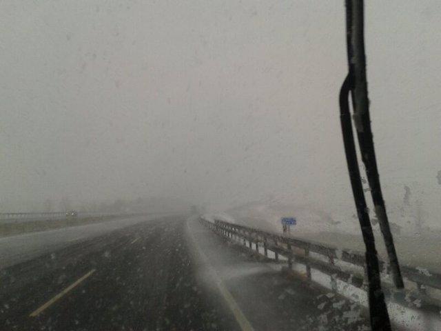 Carretera, nieve, nevada, frío