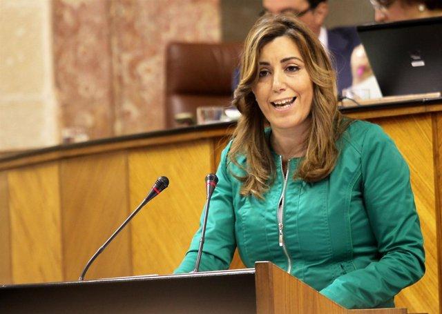 La consejera de Presidencia, Susana Díaz, en el Parlamento