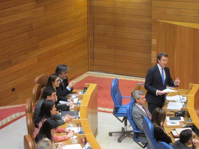 Feijóo en la sesión de control del Parlamento