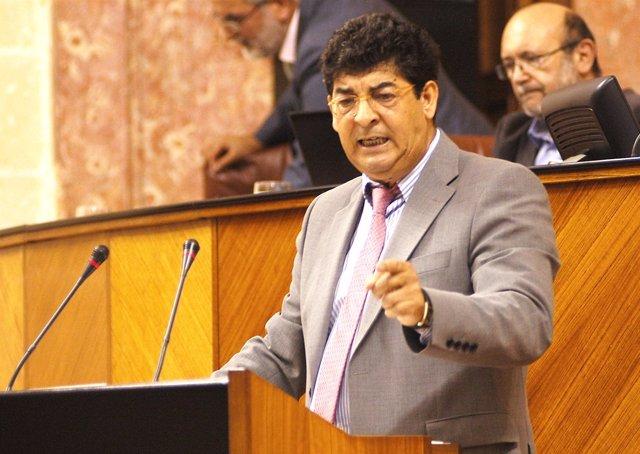 El vicepresidente de la Junta, Diego Valderas, en el pleno del Parlamento