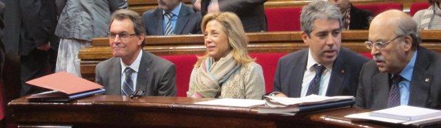 A.Mas, J.Ortega, F.Homs y A.Mas-Colell, en el Parlament