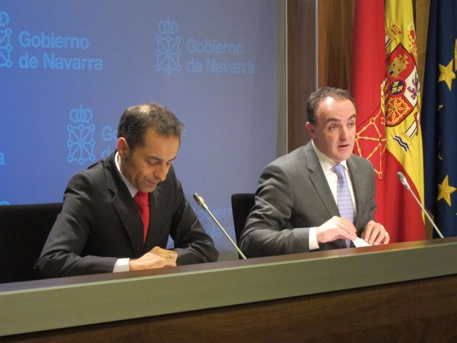 Juan Luis Sánchez de Muniáin y José Javier Esparza en la rueda de prensa.