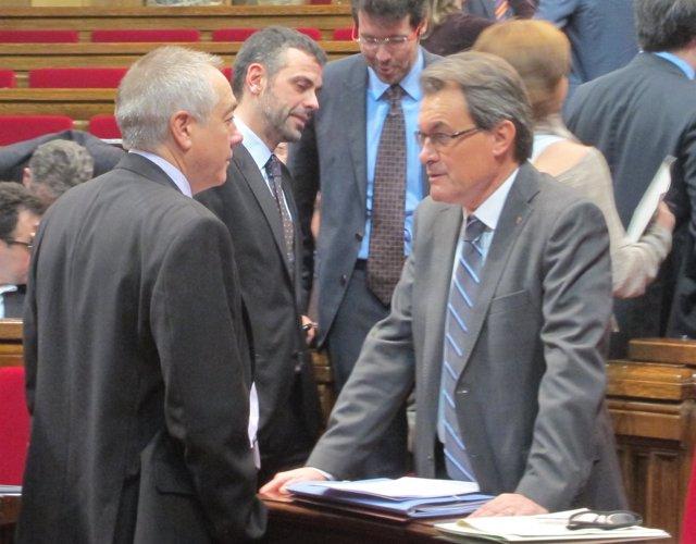 Pere Navarro y Artur Mas, en el Parlament