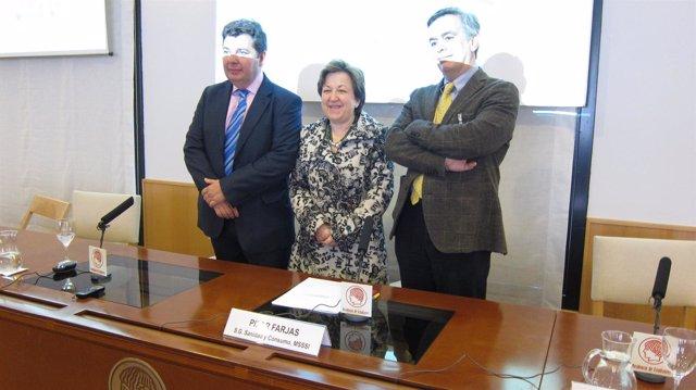 Brage, Farjas y Del Llano posan durante la presentación del estudio