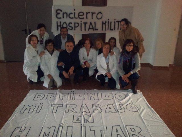 Plantilla encerrada en el Hospital Militar
