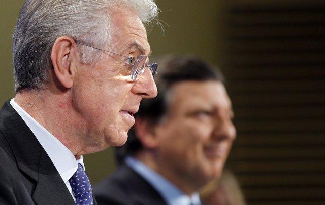 Mario Monti (Italia) Y Barroso (Comisión Europea)