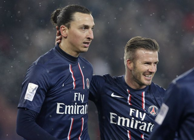 Ibrahimovic y Beckham con el PSG