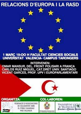 Cartel de la jornada sobre las relaciones entre el conflicto saharaui y la UE