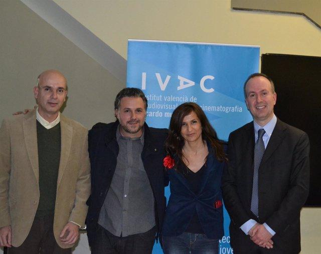 José Joaquín Gimeno, Jorge Bellver, Nuria Cidoncha y Pablo Gimeno, en el IVAC