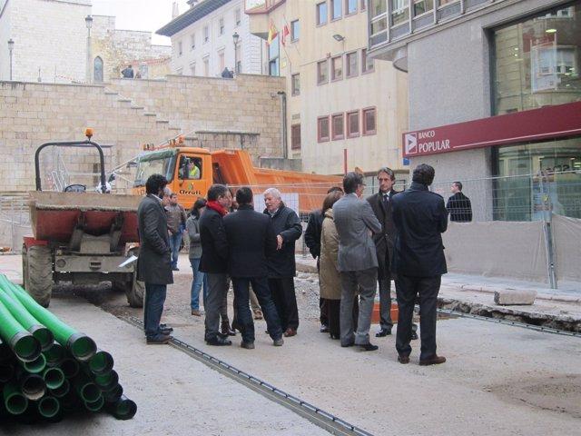 Visita a las obras de peatonalización de Lealtad y Emilio Pino