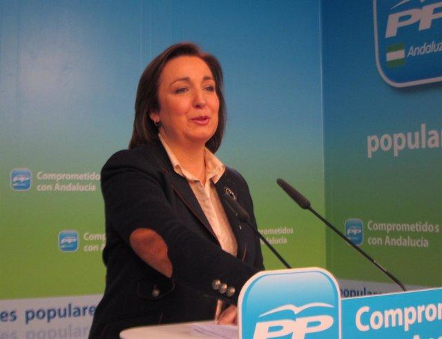 La vicesecretaria de Organización del PP andaluz, Ana Corredera, hoy en rueda