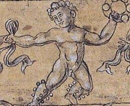 Detalle de uno de los 'Frisos de niños danzantes'.