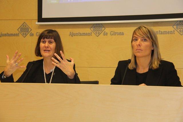 Coralí Cunyat (Ayto.Girona) y la dtora del proyecto Núria Galí