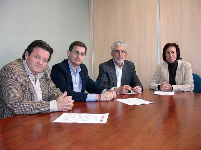 Pallarés (CCOO), Teruel (PSOE), Ginel (UGT) y Martín (IU)