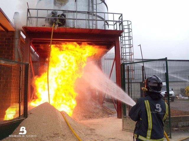 Incendio en Sotrondio