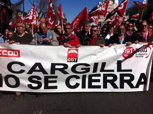 Manifestación de trabajadores de Cargill.