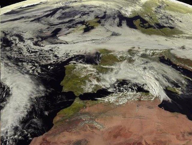 Imagen satélite de la borrasca