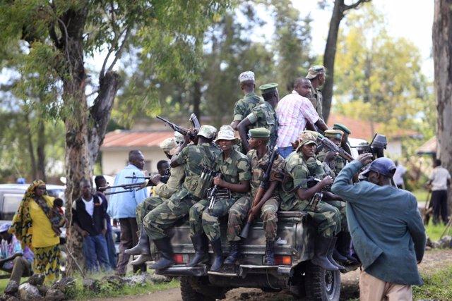 Combatientes del Movimiento 23 de Marzo (M23), en la RDC