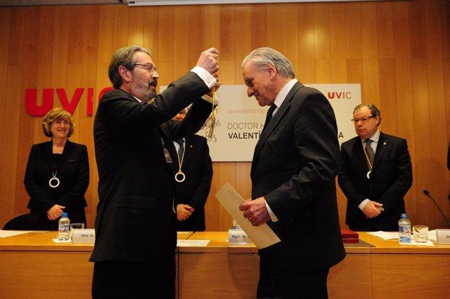 Jordi Montaña (rector UVic) y el cardiólogo Valentí Fuster
