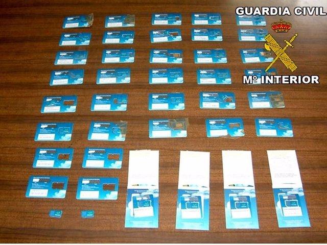 Tarejetas de telefonía móvil intervencidas en la operación 'ASIN'.