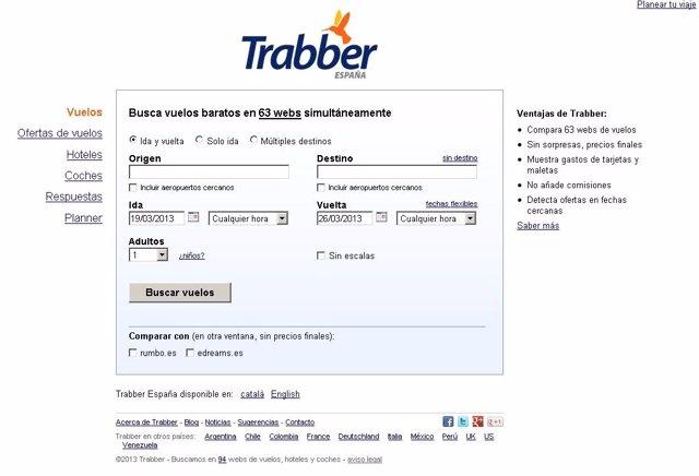 Página web de Trabber